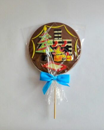 christmas fireplace giant milk chocolate lollipop closed