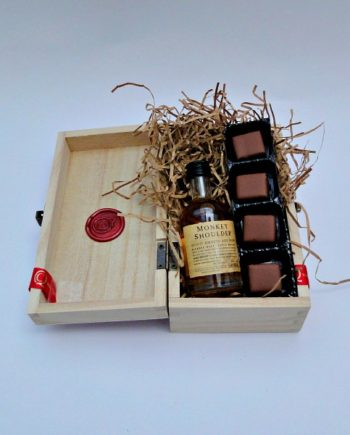 monkey shoulder scotch whisky minatures chocolate truffles wooden box