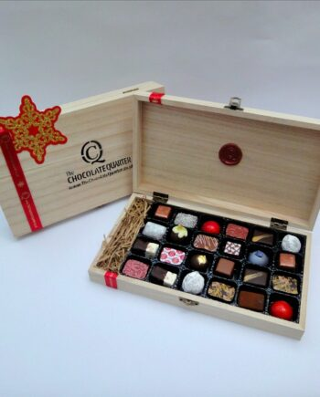 wooden christmas box 24 luxury chocolate truffles
