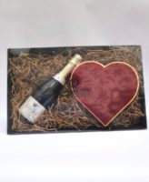 Champagne and 24 Chocolate Velvet Heart Box Hamper Closed
