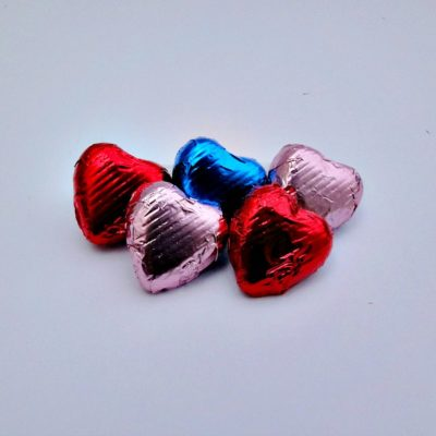 Blue Pink Red Chocolate Hearts