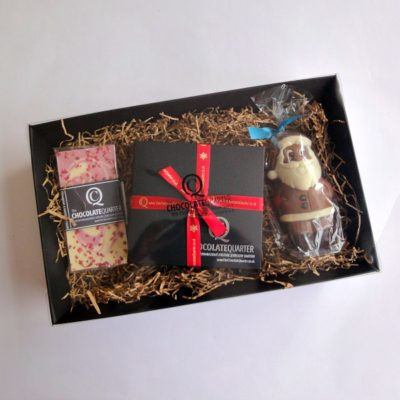 large luxury chocolate christmas hamper closed