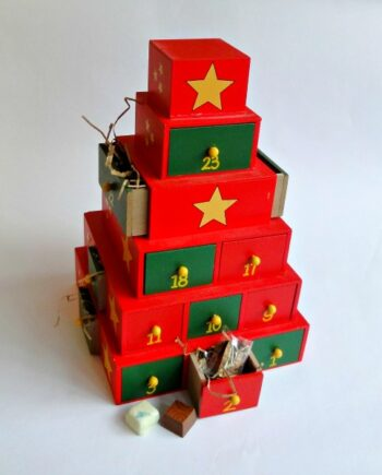 wooden 24 chocolate advent calendar christmas tower