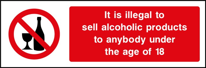 Over 18s Only Alcohol Sign