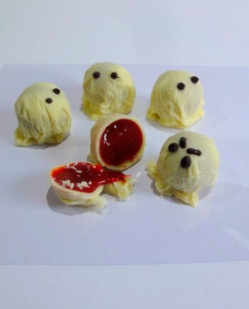 blood sour ghosts Strawberry and Balsamic Chococlate truffle cut